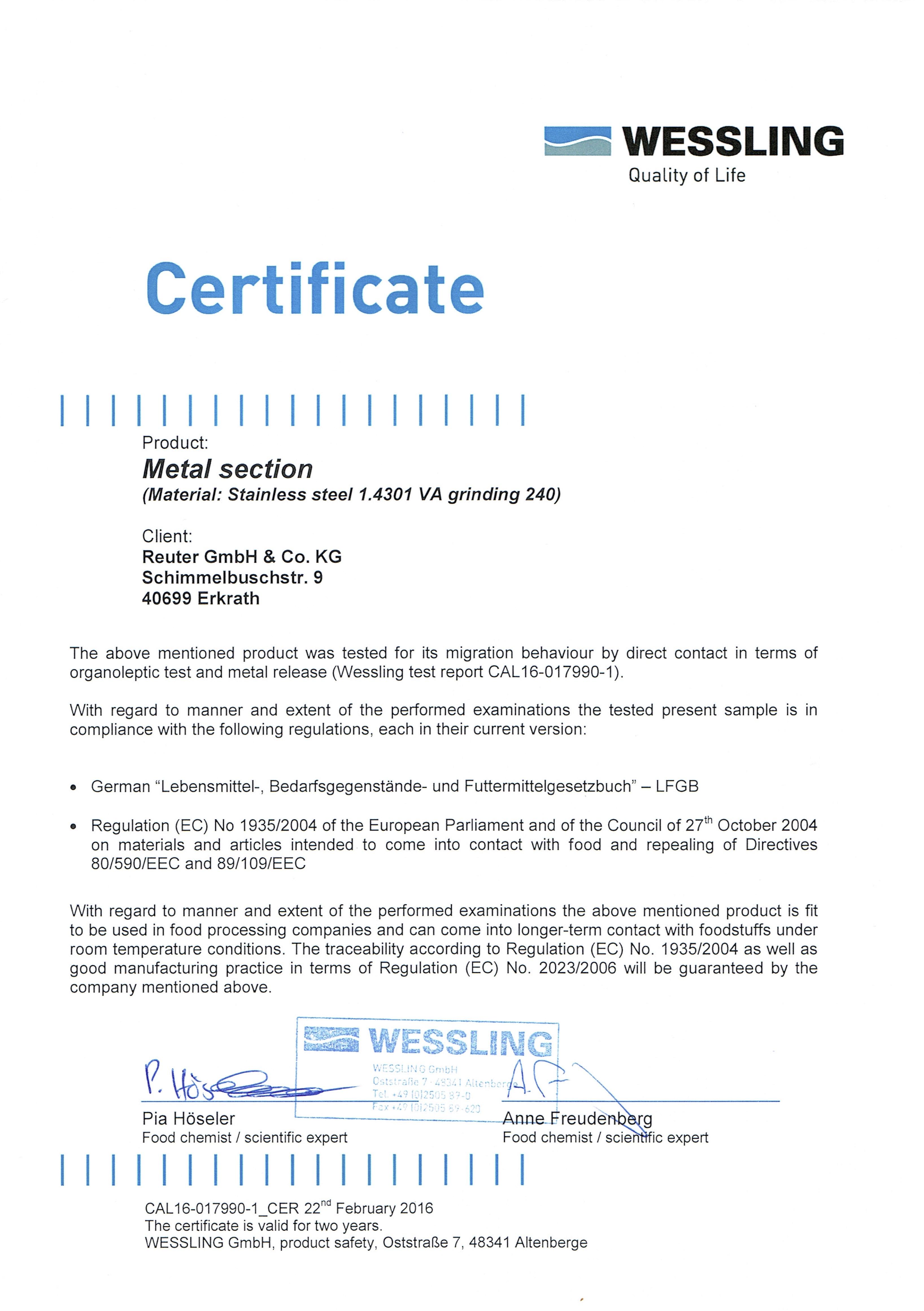 Certificate Lebensmittel EN Wessling29022016