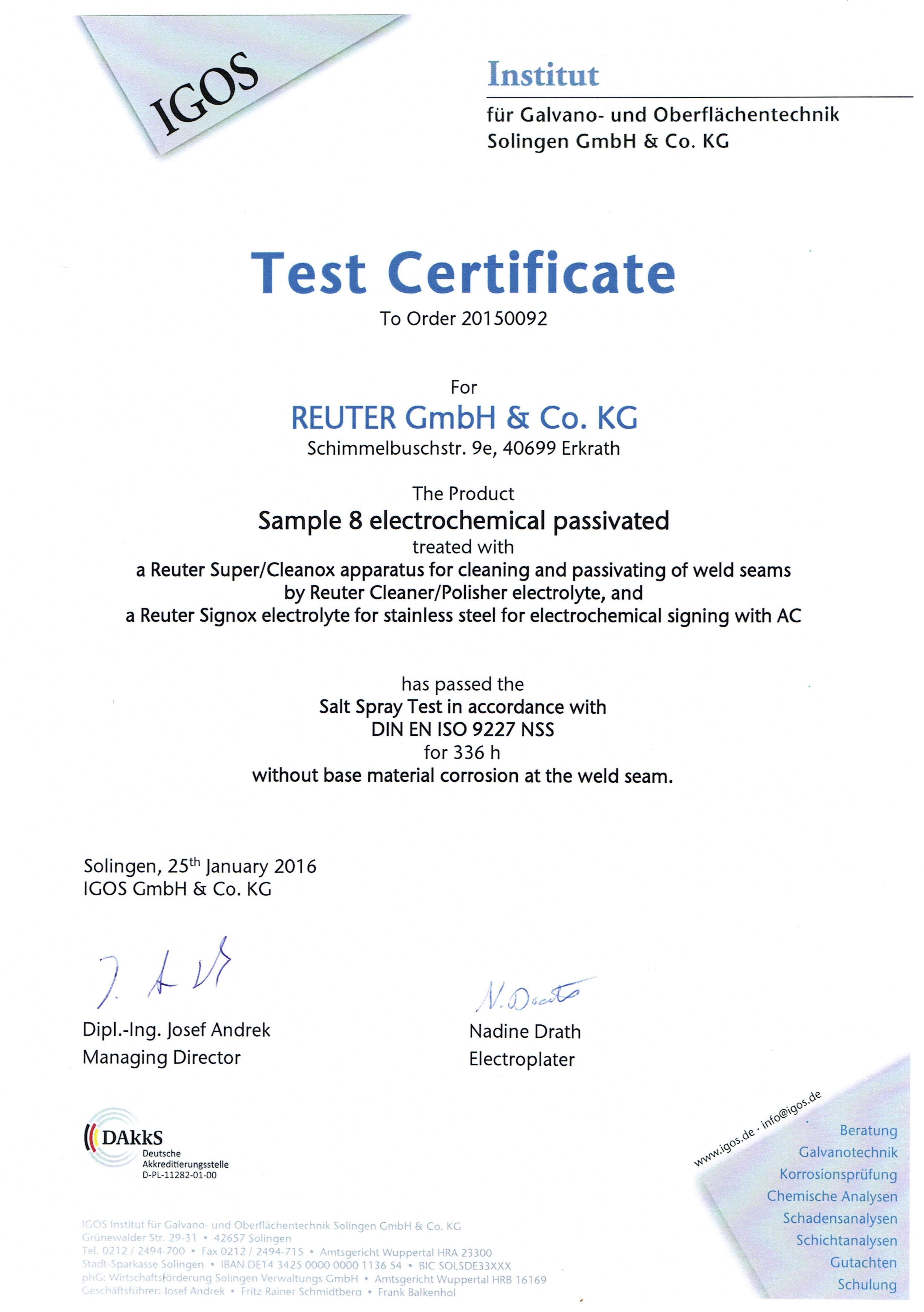 Test Certificate IGOS28012016